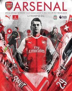 Arsenal 3 Liverpool 4 in Aug 2016 at the Emirates Stadium. The programme cover Football Design, Football Art, Football Program, Liverpool Premier League, Granit Xhaka, Sports Graphics, Gcse Art, Arsenal Fc, Graphic Design Inspiration
