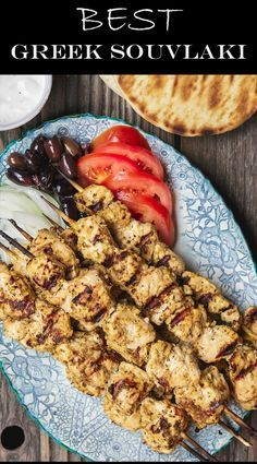 Greek Chicken Souvlaki Recipe with Tzatziki This homemade chicken souvlaki recipe takes you to the streets of Athens! Complete with the best souvlaki marinade; instructions for indoor or outdoor grilling; and what to serve with your souvlaki. Recipe from Kabob Recipes, Grilling Recipes, Cooking Recipes, Healthy Recipes, Tzatziki, Greek Chicken Souvlaki, Greek Chicken Kabobs, Greek Grilled Chicken, Greek Yogurt Chicken