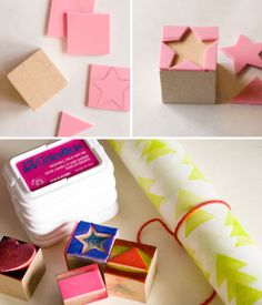 DIY gift wrapping: stamped paper