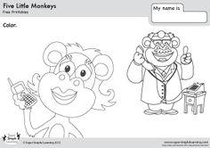 five little monkeys worksheets - Buscar con Google