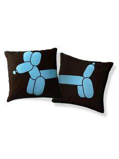 Balloon Dog Pillow Blue & Brown By Supon Phornirunlit @ Touch of Modern Modern Throw Pillows, Blue Pillows, Diy Pillows, Accent Pillows, Decorative Pillows, Dog Cushions, Pillow Ideas, Balloon Dog, Balloon Animals