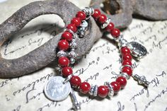Red Glass Beads and Coin Charms Bracelet