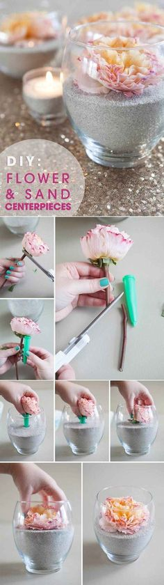 Flower and Sand Centerpieces - DIY Tutorial: Something Turquoise