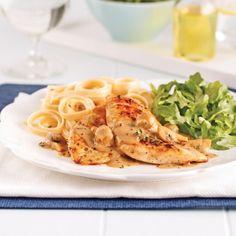Poulet sauce crémeuse aux champignons - Soupers de semaine - Recettes 5-15 - Recettes express 5/15 - Pratico Pratique