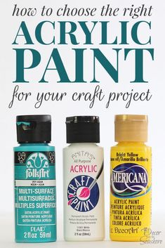 I always use acrylic paints for my DIY projects, so this is super helpful for figuring out how to choose the right acrylic paint for the project! No more standing in the paint aisle debating which paint to buy for hours at a time!   decorbytheseashore.com