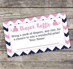 Nautical Girl Diaper Raffle Card - Pink Whale Diaper Raffle Card - Baby Shower Games - Anchor Baby Shower 216