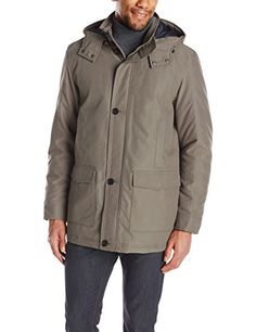 Perry Ellis Men's Long Microfiber Coat with Detachable Hood, Willow, Large Perry Ellis ++You can get best price to buy this with big discount just for you.++