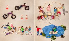 Children in make-believe pictures cleverly arranged on the floor