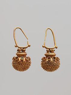 Pair of spherical gold earrings. 6th–5th century B.C. Culture: Greek Medium: Gold, enamel