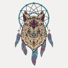 dream catcher tattoo: Vector colorful illustration of tribal style wolf with ethnic ornaments and dream catcher. American indian motifs. Totem tattoo. Boho design. Illustration