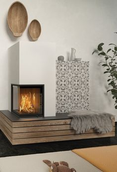 Home Fireplace, Modern Fireplace, Fireplace Design, Teal Living Rooms, Home And Living, Living Room Decor, Indoor Outdoor Fireplaces, Moraira, Japanese Home Decor