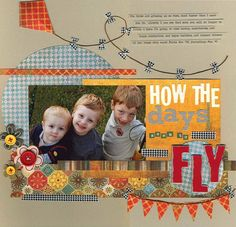 like the photo angle and title of this scrapbook page layout.