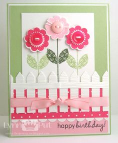 Birthday Flowers with picket fence - bjl