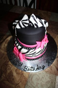 Zebra Print Girly Girl BDay by Tessa Glasgow on cakecentralcom