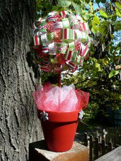 Christmas Ribbon Topiary