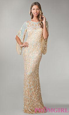 Floor Length Sequin Dress with Butterfly Sleeves at PromGirl.com