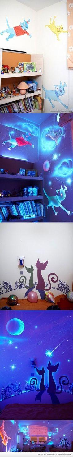 "Just had a stroke of genius thanks to this post. Put the black out line of famous London landmarks on my walls. Then when I switch to black light it lights up the ""world of harry potter"" :) Now to talk my husband into it!"