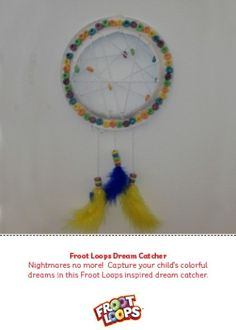 Help your child create this Froot Loops inspired dream catcher by using a paper plate, yarn, feathers and Froot Loops. Cut a hole in middle of the plate. Take a paper hole puncher and punch holes around the perimeter of the plate. Weave a long string of yarn through holes and through Froot Loops to create a web. Punch three holes at the bottom of the plate, tie strings of yarn to the holes, string Froot Loops through the yarn and attach a feather at the bottom of each to create the…