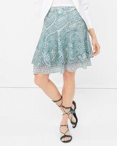 White House | Black Market Paisley Print Flirty Skirt