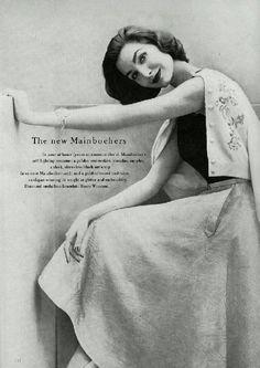 Mainbocher A/H 1955-56, bijoux de Harry Winston. Photo Richard Rutledge. Mannequin Anne Sainte-Marie.