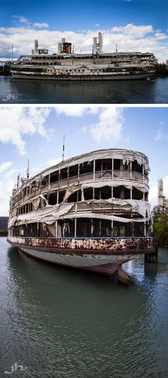 Rural exploration and urbex of some of the world's most haunting abandoned paddle steamers and riverboat shipwrecks. Abandoned Ships, Abandoned Mansions, Abandoned Buildings, Abandoned Houses, Abandoned Places, Beautiful Ruins, Beautiful Places, Places Around The World, Around The Worlds