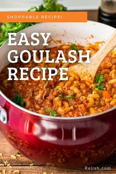 It takes only 30 minutes to make this easy Goulash recipe! Save this recipe and others, create meal plans, and build your shopping list now over at relish.com! Easy Goulash Recipes, Pasta Recipes, Beef Recipes, Dinner Recipes, Macaroni Pasta, Dinner Bell, Italian Seasoning, Soups And Stews, Meal Planning