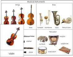 Musical Instruments Nomenclature from Montessori for Everyone