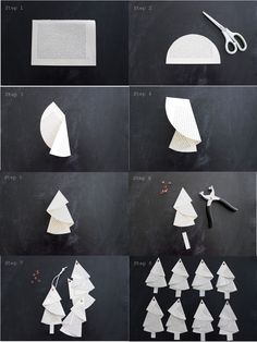 Anleitung für die Bäumchen aus alten Buchseiten… Tutorial… – HANDMADE Kultur And I fold and fold …. Instructions for the trees from old book pages … Tutorial … – HANDMADE culture … Noel Christmas, Christmas Crafts For Kids, Simple Christmas, Holiday Crafts, Origami Christmas Tree, Paper Christmas Ornaments, Christmas Cookies, Papier Diy, Navidad Diy