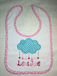 Cloud raining hearts personalized with name on bib, blanket, onesie, towel or shirt by BrynabeesEmbroidery on Etsy