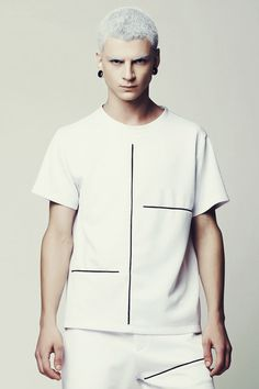 Men's White Tshirt with black stripes Scuba by EliranNargassi
