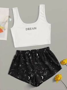 Shop Letter & Galaxy Print PJ Set at ROMWE, discover more fashion styles online. Girls Fashion Clothes, Teen Fashion Outfits, Outfits For Teens, Girl Fashion, Teenager Outfits, Gothic Fashion, Cute Lazy Outfits, Pretty Outfits, Cool Outfits