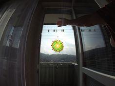 mandala na CD - lapač slnka - farby na sklo