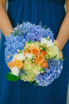 #Bouquet | For Brides who love #Blue | http://www.stylemepretty.com/washington-weddings/2014/01/21/bainbridge-island-wedding-2/ Yvone Wong Photography