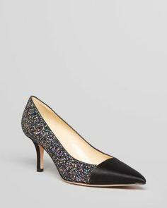 kate spade new york Pointed Toe Cap Toe Pumps - Jenny Glitter High Heel  Bloomingdale's
