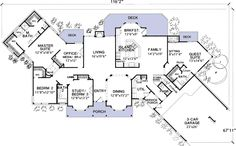Flexible House Plan with In-Law Suite Plan Corner Lot, Hill Country, Country, Photo Gallery House Plans & Home Designs House Plans One Story, Ranch House Plans, Best House Plans, Dream House Plans, Story House, House Floor Plans, The Plan, How To Plan, Architectural Design House Plans