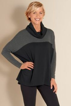 Soft Surroundings Outlet . Like dolman sleeves, color blocking, cowl neck.