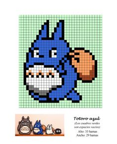Totoro Hama Beads Pattern post by wememade Perler Bead Designs, Hama Beads Design, Hama Beads Patterns, Beading Patterns, Perler Beads, Perler Bead Art, Fuse Beads, Beaded Cross Stitch, Cross Stitch Charts