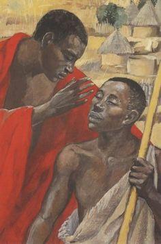 Jesus Cures the Man Born Blind, Jesus Mafa, African American Art, African Art, Blind Art, Eagle Pictures, Black Jesus, Black Love Art, Prophetic Art, Biblical Art, Religious Images