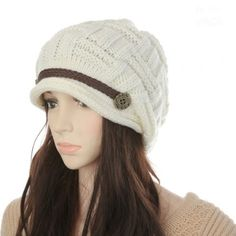 (6.07$)  Watch here - http://aiavw.worlditems.win/all/product.php?id=H3132W - New Winter Women Beanie Chunky Knit Baggy Hat Warm Ski Hat Cap Headwear White