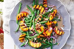 Chargrilled peaches with green beans and almonds This gorgeous summer salad is a beautiful contrast of bright colours, textures and Christmas Lunch, Christmas Recipes, Christmas Ideas, Christmas 2019, Summer Christmas, Christmas Cooking, Green Beans With Almonds, Delicious Magazine, Delicious Food