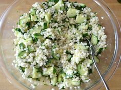 Lemon Cucumber Couscous- June 2015- make with Greek Marinated Chicken.  Very fresh and healthy.  1 1/2 cups of couscous is plenty, salt water, and boil in big saucepan (not medium).  Good to make a couple times a year.  SS