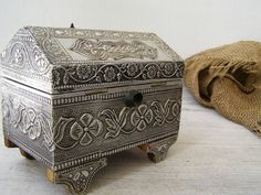 Antique Treasure Chest Box, Victorian Style Vanity Table Top, Metalwork And Wood…