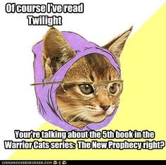 "Look out, Twilight fans! Warriors is coming through! I'm reading the last book in ""The Prophecies Begin""."