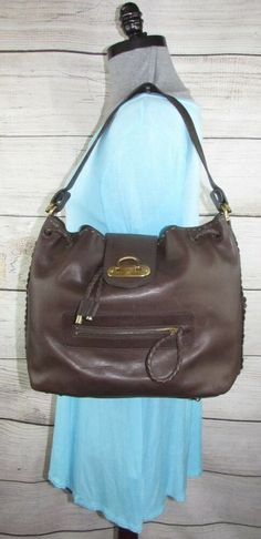 Frye Large Dark Brown Leather Purse Hobo Shoulder Bag Braided Brass  Hardware LNC  Frye   1e1c4c4ccc47e