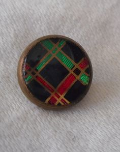 ANTIQUE Plaid under Glass Waistcoat BUTTON by abandc on Etsy