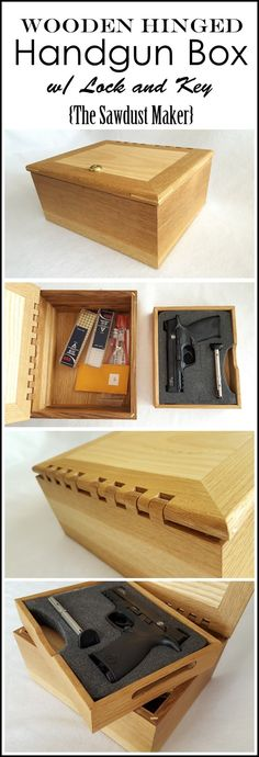 DIY Gun Box with Wooden Hinge! FREE PLANS! {The Sawdust Maker}