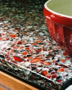 Recycled glass countertops are an excellent choice for kitchen and bath applications. They offer long lasting beauty and they tell visitors to your home that you care about our environment and the future of the world we all share. Recycled Glass Countertops, Concrete Countertops, Kitchen Countertops, Countertop Materials, Blue Countertops, Countertop Redo, Concrete Table, Concrete Kitchen, Kitchen Backsplash