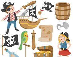 Clip Art de piratas - pirata Scrapbooking, diseño de la tarjeta, invitaciones, pegatinas, papel, diseño web - descarga instantánea