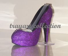 Purple sparkle High Heel Stiletto Platform Shoe TAPE DISPENSER office supplies - trayart collection. $25.00, via Etsy.