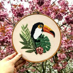 Tropical Toucan embroidery hoop